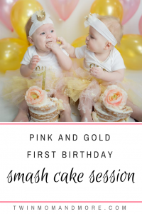 Pink and Gold Smash Cake Session for twins: #firstbirthday #firstbirthdayparty #smashcake #smashcakesession #smashcakefortwins #twinsfirstbirthdayparty #pinkandgold #pinkandgoldfirstbirthday