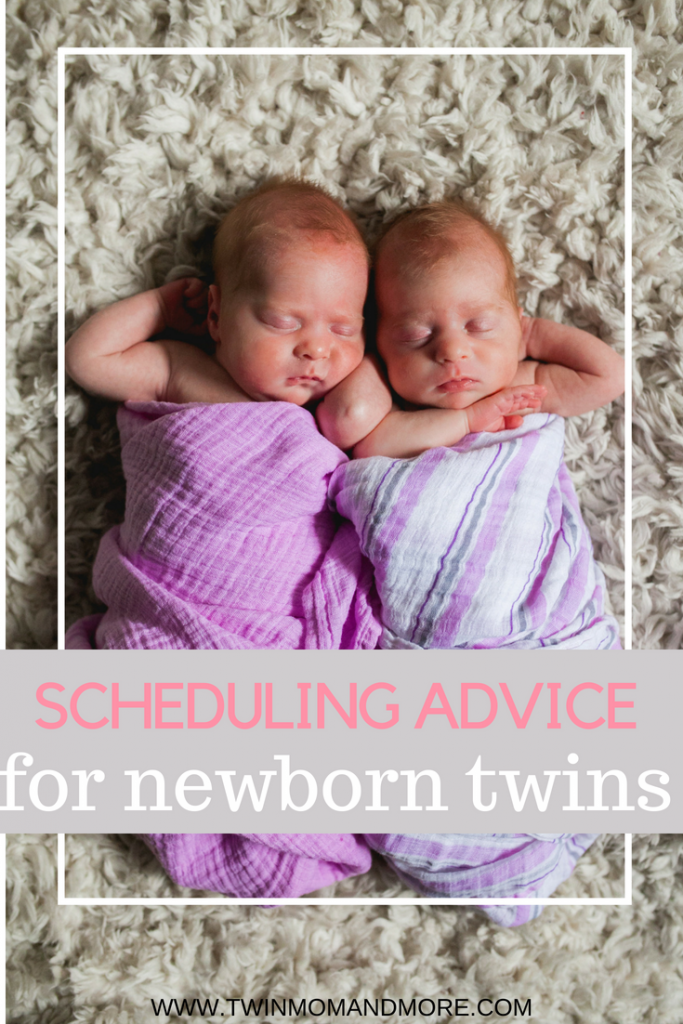 Do you have newborn twins and wondering if it's possible to get your twins on the same schedule? It IS possible to get your twins on the same schedule, and it will make your life so much easier. Read on for tips on how to do it! #twins #twinmom #newborntwins #advicefortwins #advicefortwinmoms #tipsfortwins #newbornschedule