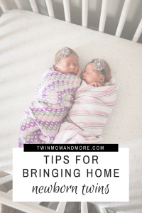 Bringing home twin can be daunting. Here are 5 tips to help you survive life with newborn twins! #expectingtwins #twins #newborntwins #twinmom #twinadvice #advicefortwinparents #newborntwinhacks #newborntwinsadvice