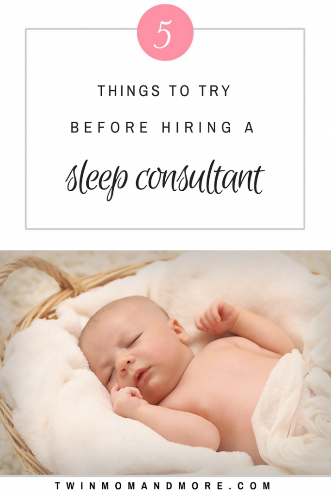 Exhausted and anxious for your baby to sleep through the night? Thinking of hiring a sleep consultant? Before you do, check out these resources and try these 5 tips! #sleeptraining #newborn #newbornsleep #newbornsleephacks #babywise #sleeptips #sleepthroughthenight #sttn #babysleeptips