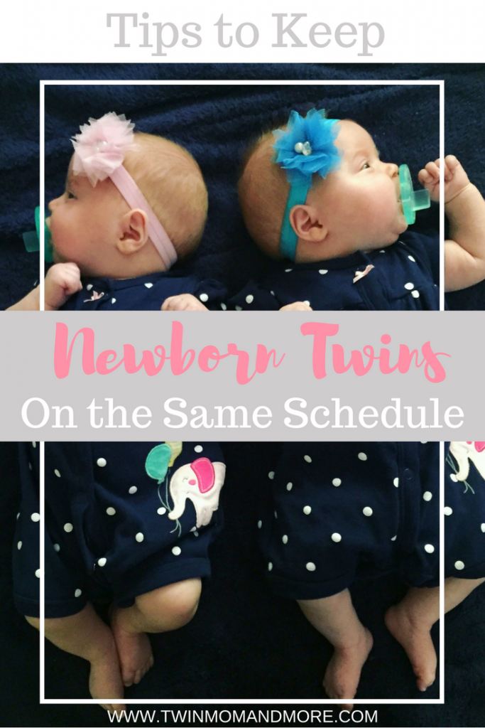Trying to keep newborn twins on the same schedule can be a challenge. This post outlines great tips if you are struggling with getting your twins to stay on the same schedule. #newborntwins #twinsleepadvice #newborntwinsadvice