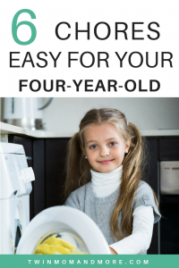 It's important for children to help out around the house at a young age. Here is a list of chores that are perfect for a four-year-old. #parenting #childhood #children #fouryearold #chores #housework #householdchores #choresforchildren #choresforkids
