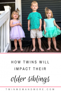 The Impact Twins Have on Their Siblings: Adding twins to the family is a unique challege as well as blessing. Read about how it will impact older siblings when twins are added. #expectingwins #addingtwins #siblings #siblinglove #parenting #raisingtwins