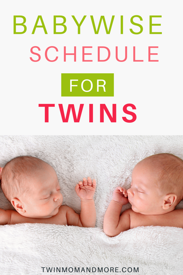 Pinterest image of a schedule for newborn twins.