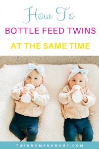 How to Bottle Feed Twins at the Same Time: Tips on bottle feeding twins at the same time. Save time and energy with these hacks! #twins #feedingtwins #newborntwins #twinmom