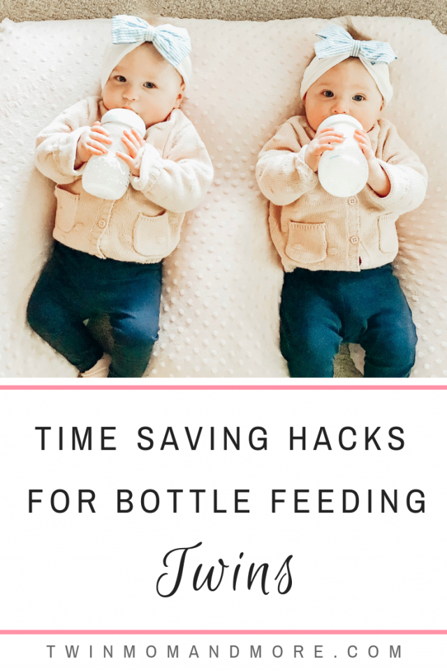 Time Saving Hacks for Bottle Feeding Twins: Tips from a twin mom on bottle feeding twins, at the same time, when you're by yourself! #twinmom #twins #newborntwins #feedingtwins #bottlefeeding