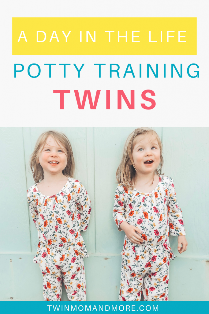 Pinterest image of twin girls standing in front of a blue wall.