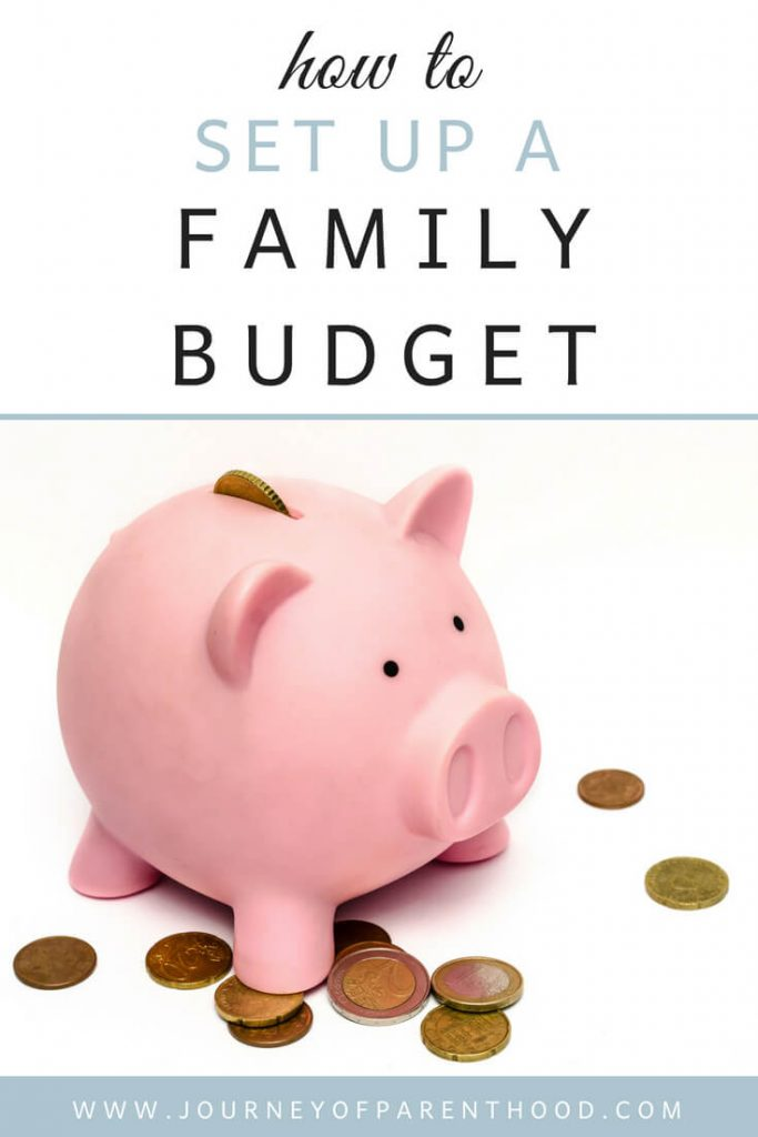 Pinnable image of how to set up a family budget by journey of parenthood.