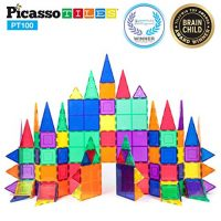 PicassoTiles 100 Piece Set 100pcs Magnet Building Tiles Clear Magnetic 3D Building Blocks Construction Playboards, Creativity beyond Imagination, Inspirational, Recreational, Educational Conventional