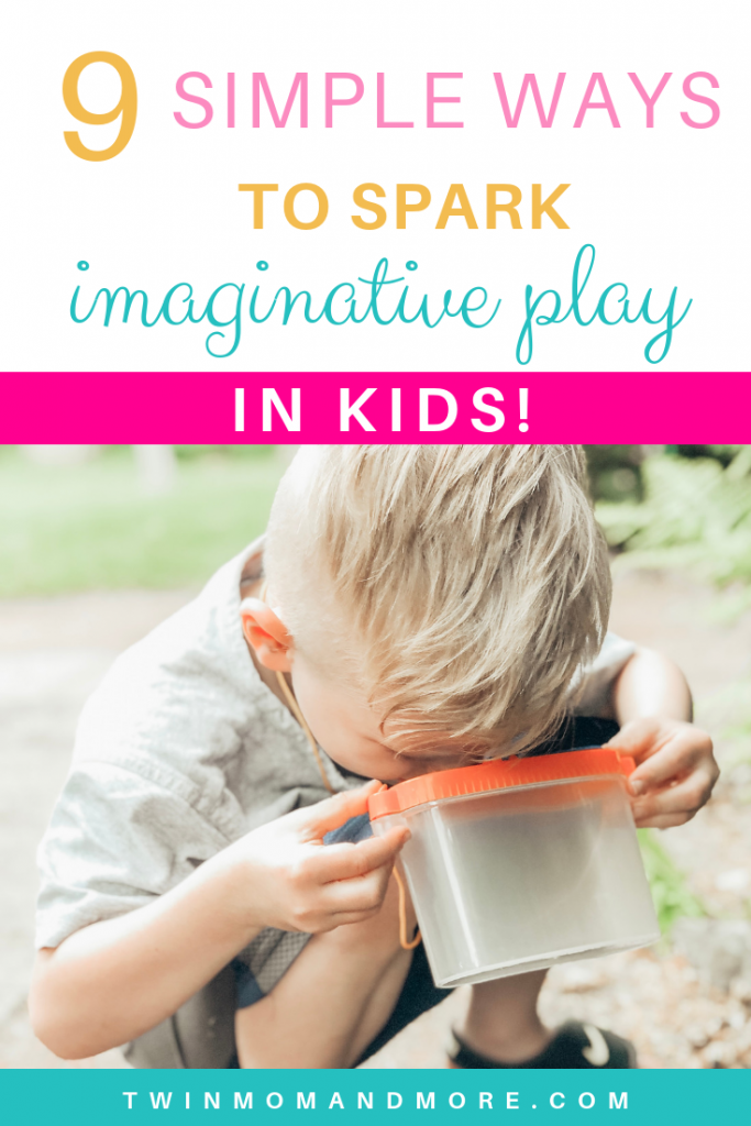 Pinterest image of little boy looking into a container with bugs. Text reads 9 simple ways to spark imaginative play in kids.