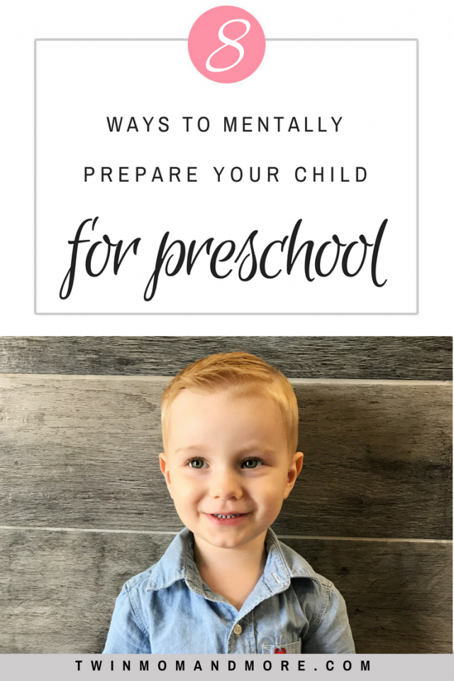 Pinterest image of little blonde boy smiling. Text reads 8 ways to mentally prepare your child for preschool.