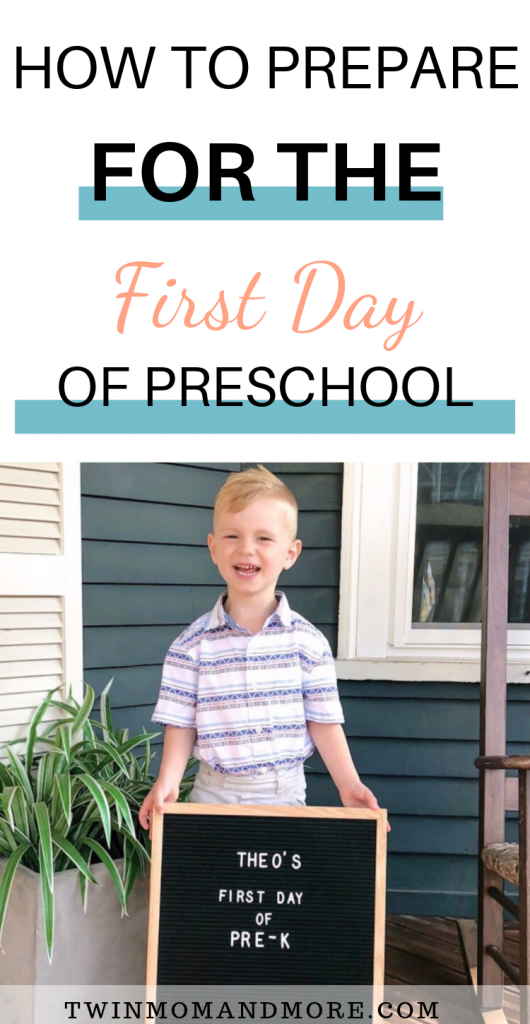 Pinterest image of little boy with first day of preschool letter board.