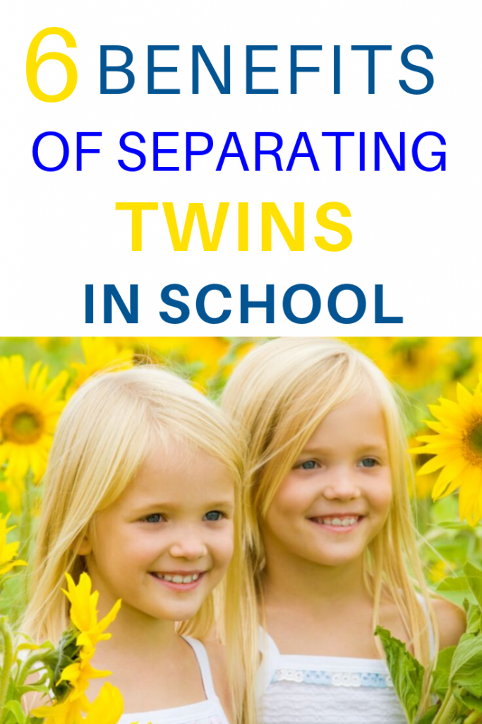 Pinterest image of blonde twin girls. Text reads 6 benefits of separating twins in school.
