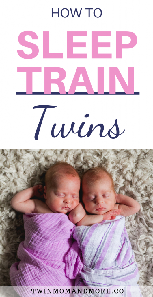 Pinterest image of newborn identical twin girls sleeping: how to sleep train twins
