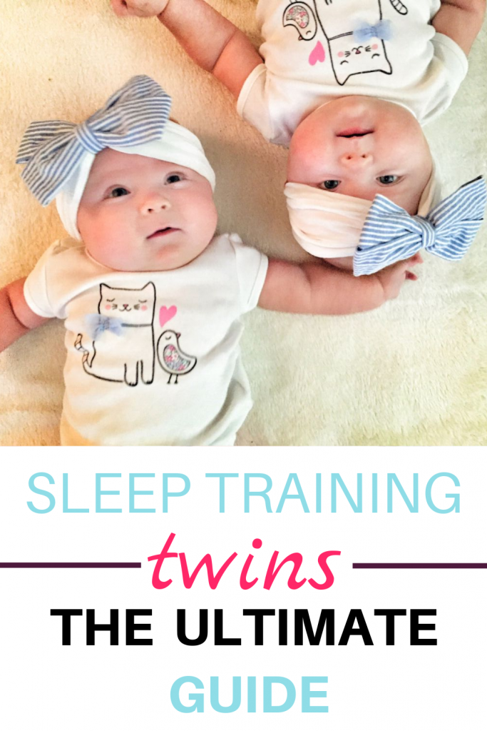 Pinterest image of newborn twin girls: guide to sleep training twins