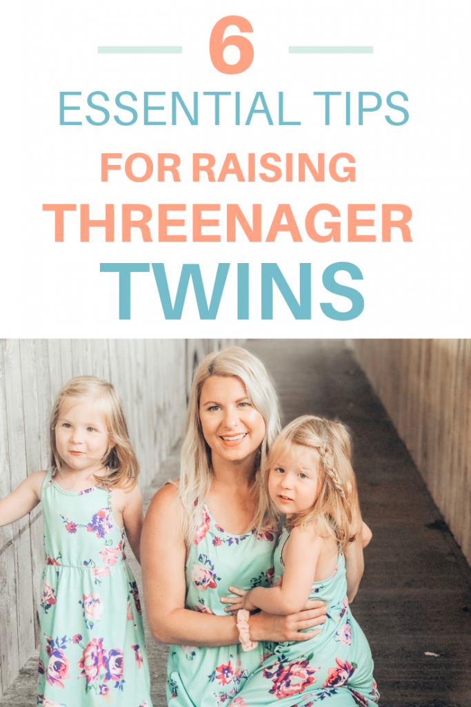 Pinterest image of mom with three year olds wins. Text reads 6 essential tips for raising threenager twins.