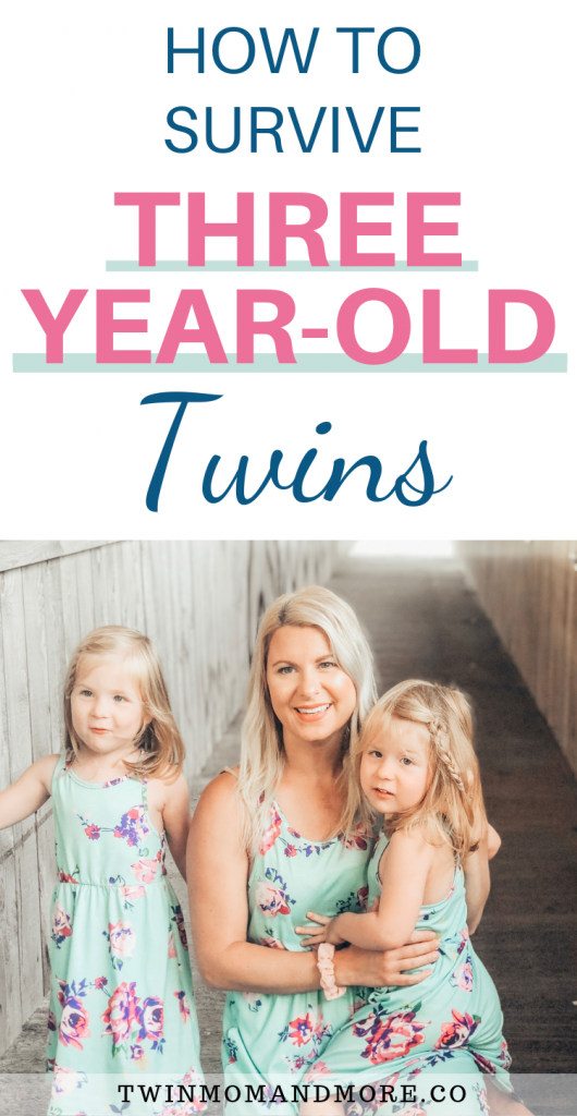 Pinterest image: how to survive three year old twins: image of mom and three year old twins.