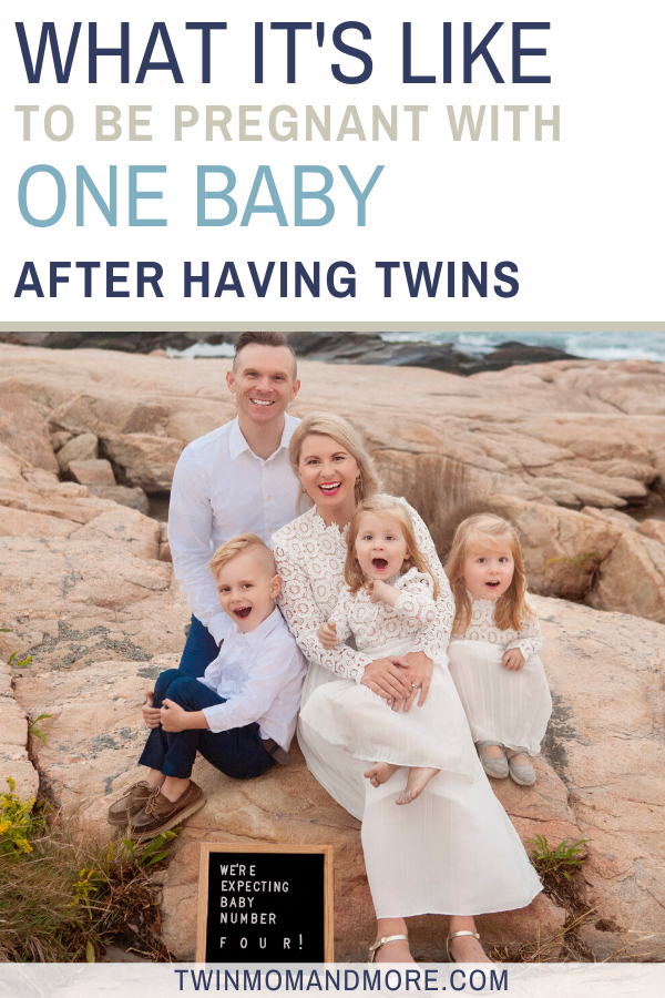 Pinterest image about having one baby after having twins