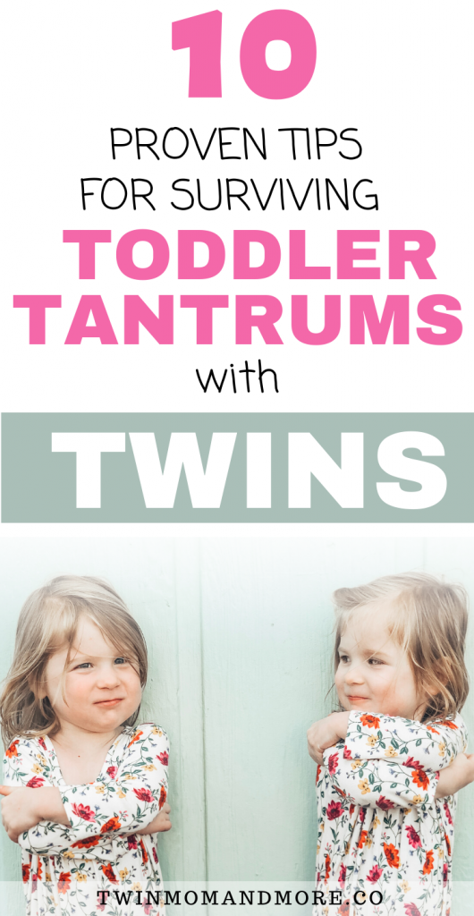 Pinterest image about surviving toddler tantrums with twins