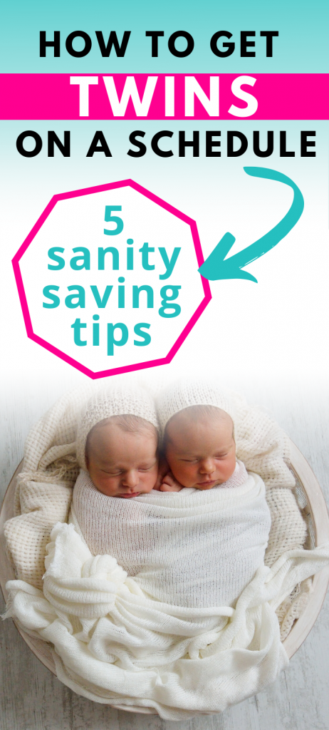 Pinterest image about getting twins on a schedule