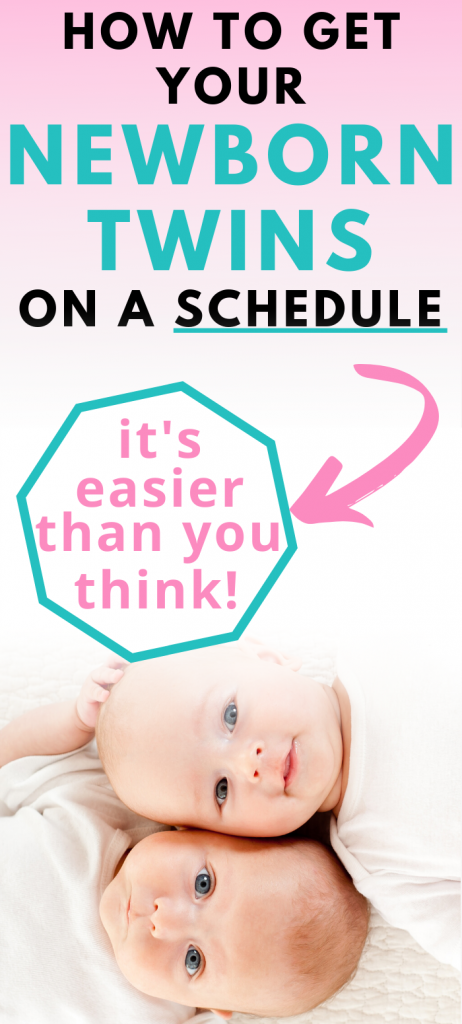 Pinterest image about how to get newborn twins on a schedule
