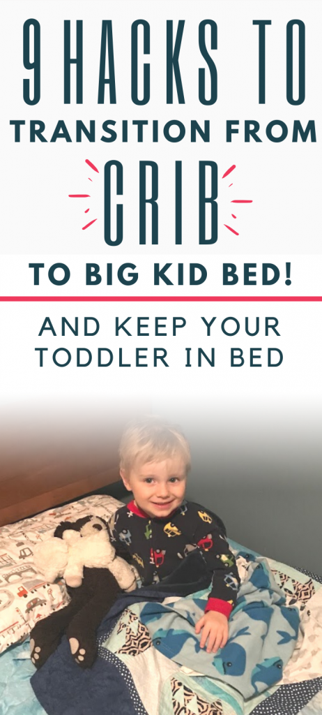 Pinterest image about the crib to bed transition and keeping toddler in bed