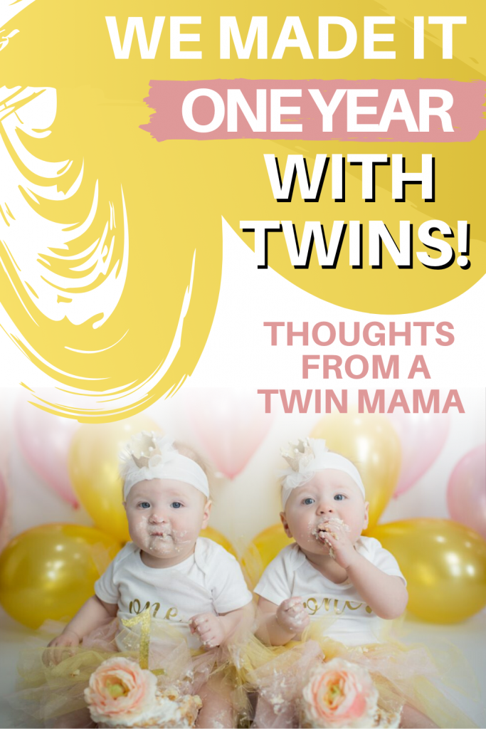 Pinterest image for thoughts on raising twins after one year