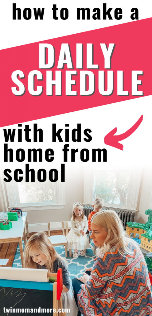 Pinterest image for how to set a daily schedule with kids home from school