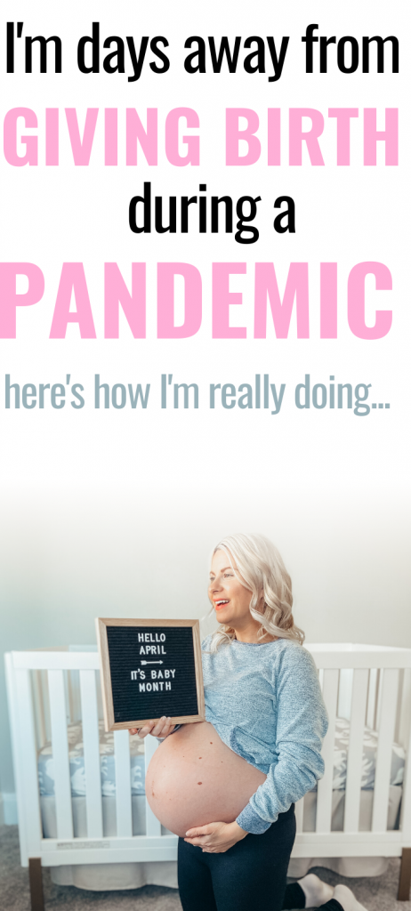 Pinterest image about giving birth during a pandemic