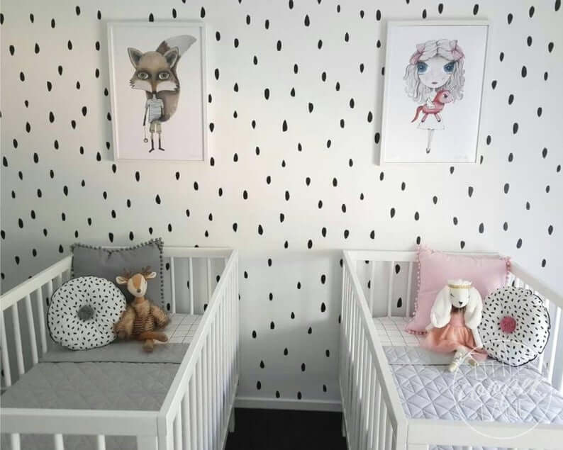 Twin nursery for boy girl twins.