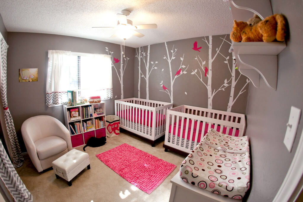 Hot pink and gray twin girl nursery.