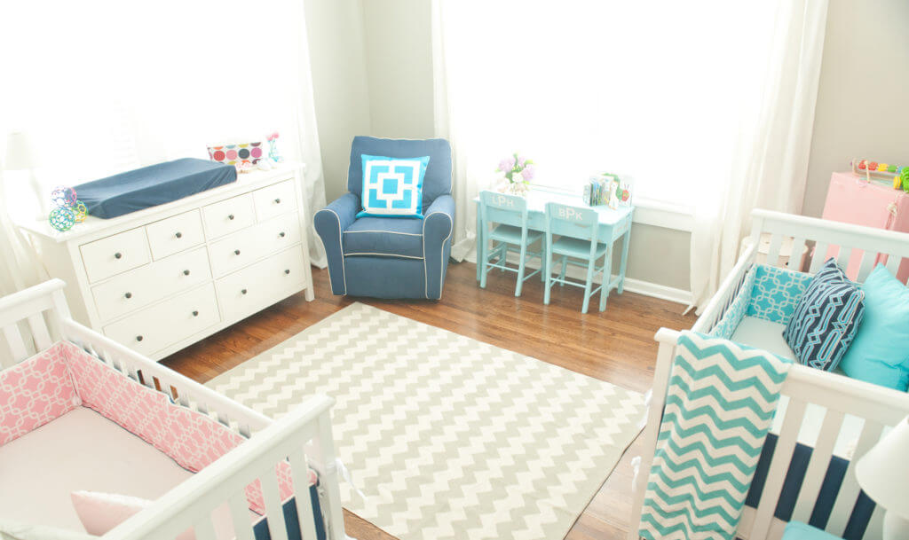 Colorful twin nursery.