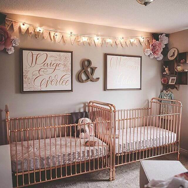 Twin girl nursery that's elegant with floral accents.