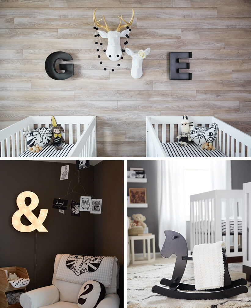 Gender neutral twin nursery with wood accent wall.